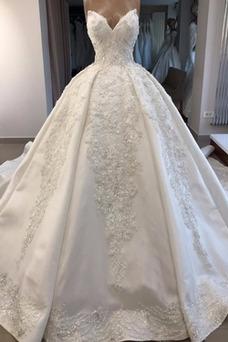 Vestido de novia Cola Real Corte-A Sin mangas Escote Corazón Iglesia