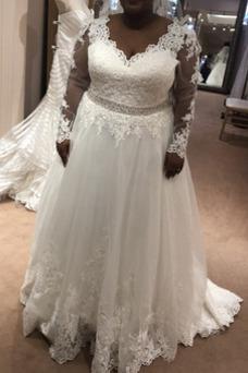 Vestido de novia Corte-A Fuera de casa Cremallera Cola Barriba Manga larga