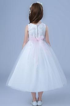 Vestido niña ceremonia Lazos Oscilación Joya Satén Arco Acentuado Natural