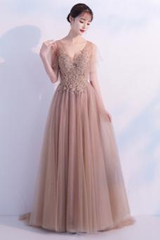 Vestido de fiesta Encaje tul Natural Elegante Falta Cola Barriba
