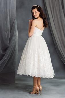 Vestido de novia Encaje Escote Corazón Playa Natural Cremallera Hasta la Tibia