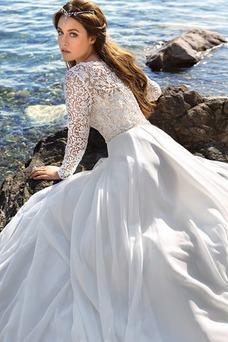 Vestido de novia Encaje Corte-A largo Gasa Cremallera Manga larga