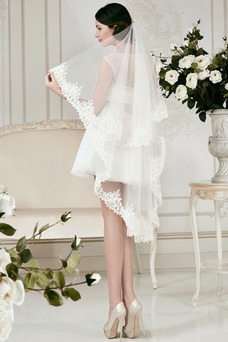 Vestido de novia Informal Natural Manga tapada Con velo Fuera de casa