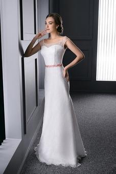 Vestido de novia Barco Fajas Natural Cordón Sin mangas Cola Barriba