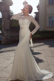 Vestido de novia Corte Sirena Mangas Illusion Clasicos Cremallera Fuera de casa