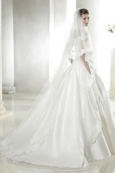 Vestido de novia Invierno Manga tapada Espalda medio descubierto Encaje