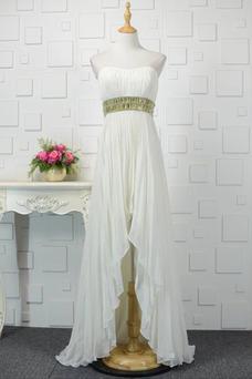 Vestido de noche Asimétrico Dobladillo Abalorio Moderno Frontal Dividida