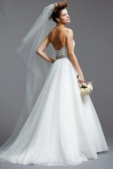 Vestido de novia Abalorio Cola Capilla tul Sin mangas Natural Con velo