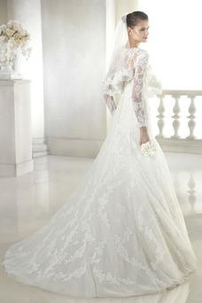 Vestido de novia Con velo Corte-A Escote en V Sala Encaje Mangas Illusion