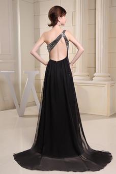 Vestido de noche Espalda Descubierta Natural Gasa Asimétrico Estilo