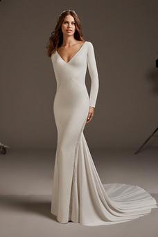 Vestido de novia Encaje sexy Escote en V Natural Camiseta Satén