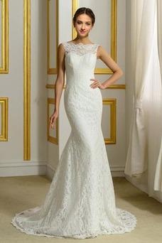 Vestido de novia Corte Sirena Sin mangas Barco Falta Cola Barriba Encaje