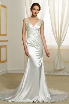 Vestido de novia Natural Corte Sirena Falta Espalda Descubierta Otoño
