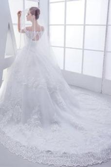 Vestido de novia Manga corta Cola Real Encaje Iglesia Corte-A Escote con Hombros caídos