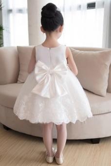 Vestido niña ceremonia Hasta la Rodilla Sin mangas Falta Cremallera Satén