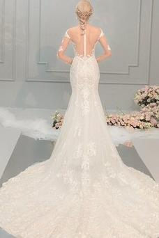 Vestido de novia Cola Capilla Mangas Illusion Fuera de casa Corte Sirena