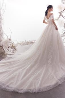 Vestido de novia Playa Cola Catedral Capa de encaje Corte-A Natural