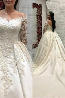 Vestido de novia Clasicos Natural Apliques Corpiño Acentuado con Perla