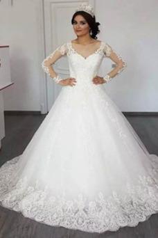 Vestido de novia Encaje Escote en V Encaje Triángulo Invertido Mangas Illusion
