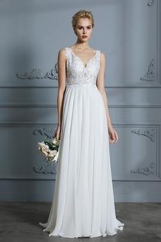 Vestido de novia Playa Falta Baja escote en V Elegante Natural Escote en V