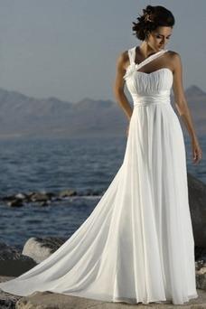 Vestido de novia Espalda medio descubierto primavera Gasa Plisado Imperio