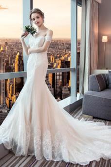Vestido de novia Elegante Otoño Manga corta Natural Cola Corte Manga tapada