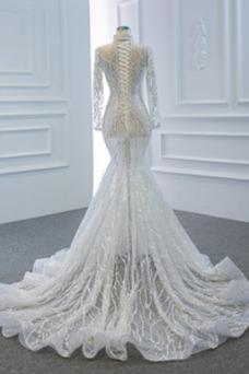 Vestido de novia sexy Mangas Illusion Natural Corte Sirena Transparente