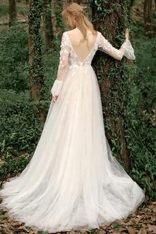 Vestido de novia Playa Flores Corte-A Manga larga Natural Cremallera