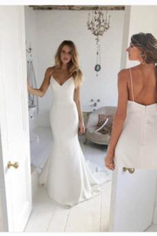 Vestido de novia Escote de Tirantes Espaguetis Baja escote en V Corte Recto