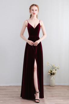 Vestido de fiesta Elegante Baja escote en V Corte-A Apertura Frontal