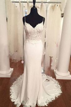 Vestido de novia Encaje Sala Cola Barriba Escote de Tirantes Espaguetis