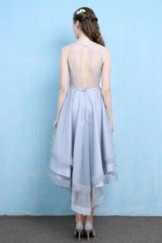 Vestido de cóctel Organza Sin mangas Asimètrico Moderno Espalda con ojo de cerradura