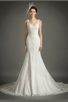 Vestido de novia Sin mangas Sala Invierno Escote en V Natural Pera