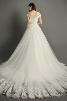 Vestido de novia Elegante Capa de encaje tul Cremallera Corte-A Sala