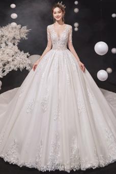 Vestido de novia Espalda con ojo de cerradura Cola Catedral Corte princesa