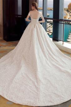 Vestido de novia Espalda Descubierta Cola Real Manga corta Verano Fuera de casa