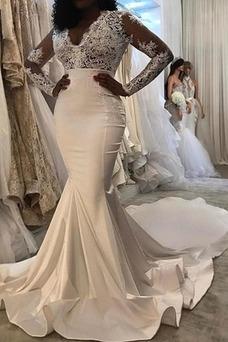 Vestido de novia Elegante Natural Tallas pequeñas Satén Cremallera Mangas Illusion