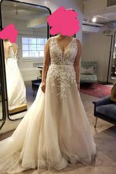 Vestido de novia Corte-A Elegante Sin mangas Apliques Cordón tul