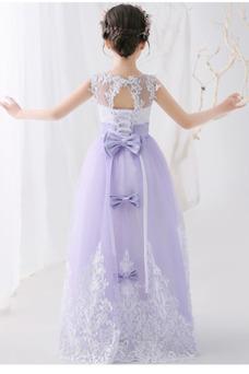 Vestido niña ceremonia Hasta el suelo Sin mangas Cordón Falta Encaje Arco Acentuado