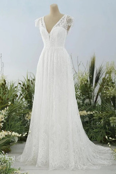 Vestido de novia Escote en V Natural Espalda Descubierta Encaje Hasta el suelo