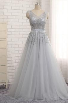 Vestido de fiesta Elegante Corte-A Escote en V Hasta el suelo tul Manzana