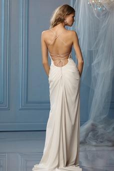 Vestido de novia Sencillo Fuera de casa Corte Recto Plisado Gasa Espalda Descubierta
