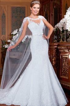 Vestido de novia Corte Sirena Cola Watteau Sin mangas Natural primavera