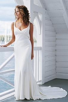 Vestido de novia Sencillo Verano Escote en V Imperio Cintura Corte Recto