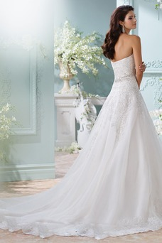 Vestido de novia Cinturón de cuentas Iglesia Espalda Descubierta Encaje