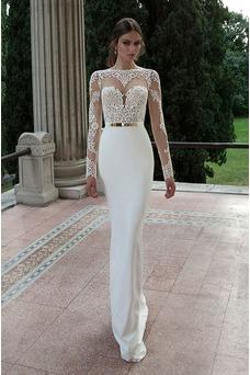 Vestido de novia Satén Elástico Mangas Illusion Hasta el suelo Corte Sirena