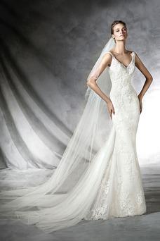 Vestido de novia Cola Panel Sala Espalda Descubierta Con velo Escote en V