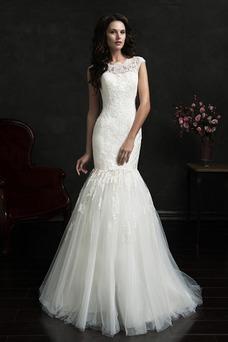 Vestido de novia Encaje 2 piezas Natural Corte Recto Joya Apliques
