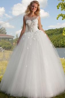 Vestido de novia Barco Manga corta largo Cordón tul Flores