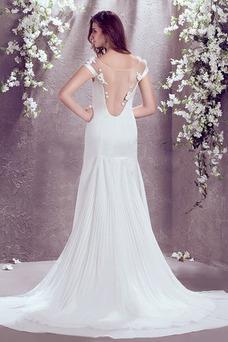 Vestido de novia Manga corta Gasa Verano Flores Barco Natural